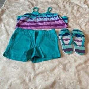 George Top, Shorts & Flip Flops Size 10 NWT
